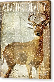 Winter Game Deer Acrylic Print by Mindy Sommers
