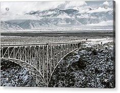 Acrylic Print featuring the photograph Winter Gorge Bridge  by Britt Runyon