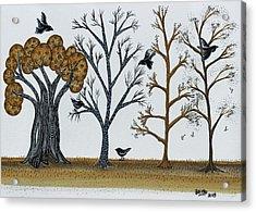 Blackbirds In The Winter Grove Acrylic Print by Graciela Bello