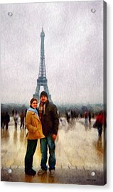 Winter Honeymoon In Paris Acrylic Print by Jeff Kolker
