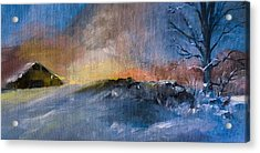 Winter Horse Barn Snowy Landscape Acrylic Print
