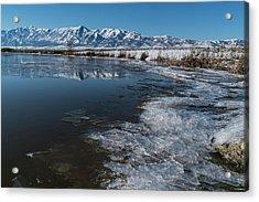 Winter Ice Flows Acrylic Print by Justin Johnson