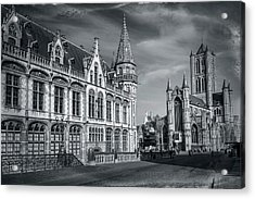 Winter In Ghent Belgium Black And White  Acrylic Print