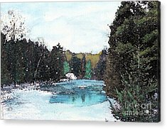 Acrylic Print featuring the mixed media Winter In Kalkaska by Desiree Paquette