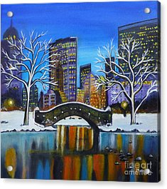 Winter In New York- Night Landscape Acrylic Print