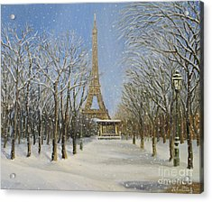 Winter In Paris Acrylic Print by Kiril Stanchev