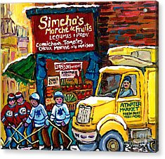 Winter In The City Montreal Memories Jewish Landmark Simcha's Fruit Store Canadian Hockey Art  Acrylic Print by Carole Spandau