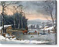 Winter In The Country Acrylic Print by Currier and Ives