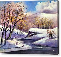 Acrylic Print featuring the painting Winter In The Garden Of Eden by Randol Burns