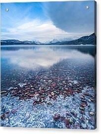 Winter Lake Rocks // Lake Mcdonald, Glacier National Park  Acrylic Print by Nicholas Parker
