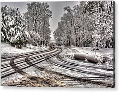 Tracks In The Snow Acrylic Print by Alex Galkin