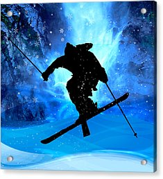 Winter Landscape And Freestyle Skier Acrylic Print by Elaine Plesser