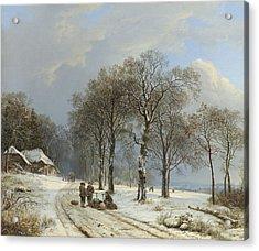 Winter Landscape Acrylic Print by Barend Cornelis Koekkoek