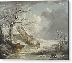 Winter Landscape Acrylic Print by George Morland
