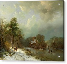 Acrylic Print featuring the painting Winter Landscape - Holland by Barend Koekkoek