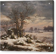 Winter Landscape Acrylic Print by Johan Christian Dahl