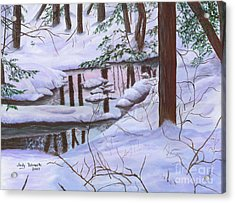 Acrylic Print featuring the painting Winter Landscape by Judy Filarecki
