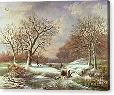Winter Landscape Acrylic Print by Louis Verboeckhoven