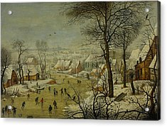 Winter Landscape With A Bird Trap Acrylic Print by Pieter Brueghel the Younger