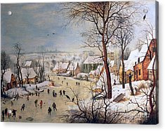 Winter Landscape With Birdtrap Acrylic Print by Pieter the elder Bruegel
