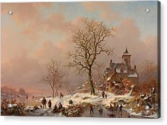 Winter Landscape With Figures Playing On The Ice Acrylic Print by Frederick Marianus Kruseman