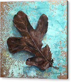 Winter Leaf Acrylic Print by T Fry-Green