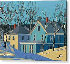 Winter Linden Street Acrylic Print by Laurie Breton