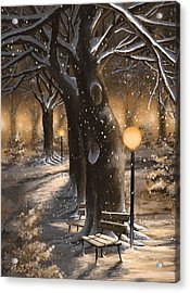 Acrylic Print featuring the painting Winter Magic by Veronica Minozzi