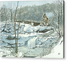 Acrylic Print featuring the painting Winter Mill by Lynn Babineau