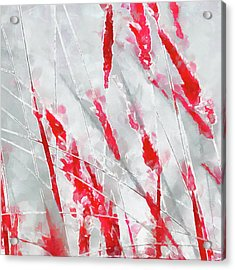Winter Moods 1 - Cardinal Red And Icy Gray Nature Abstract Acrylic Print
