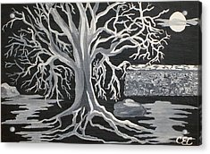 Winter Moon Acrylic Print by Carolyn Cable