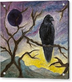 Winter Moon Raven Acrylic Print