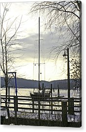 Winter Mooring Acrylic Print by Gerald Mitchell