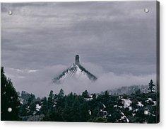 Winter Morning Fog Envelops Chimney Rock Acrylic Print