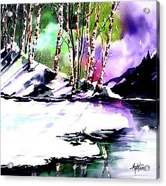 Acrylic Print featuring the painting Winter Mountain by Marti Green