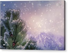 Winter Mountain Scene With Snow Falling  Acrylic Print by Art Spectrum