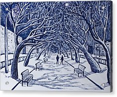 Winter Night.on The Walkway In The Park. Acrylic Print