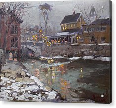 Winter Nocturne In Williamsville Acrylic Print by Ylli Haruni