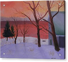 Winter Ocean Sunrise Acrylic Print