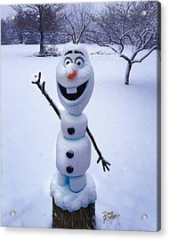 Acrylic Print featuring the sculpture Winter Olaf by Doug Kreuger