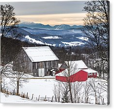 Winter On The Farm On The Hill Acrylic Print