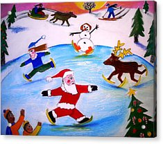 Winter Party With Santa And Rudolph Acrylic Print by Ward Smith