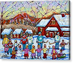 Winter Playground Painting By Canadian Hockey Art Specialist Carole Spandau Skating Sledding Snowman Acrylic Print by Carole Spandau