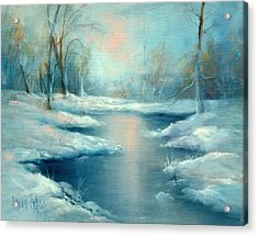Winter Pond Acrylic Print by Sally Seago