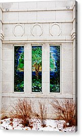 Winter Quarters Temple Tree Of Life Stained Glass Window Details Acrylic Print