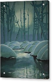Acrylic Print featuring the painting Winter Quiet by Jacqueline Athmann