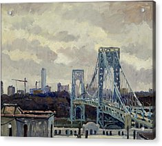 Winter Rain George Washington Bridge Acrylic Print by Thor Wickstrom