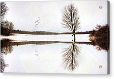 Acrylic Print featuring the digital art Winter Reflection by Sue Collura