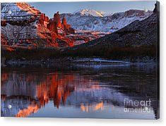 Winter Reflections At Fisher Towers Acrylic Print