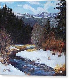 Winter River Bend Acrylic Print by Donna Munsch